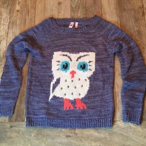 Dolled Up By FANG Purple Gray Owl Sweater Medium